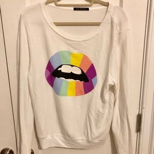 Wildfox Psychedelic Lips Sweater Size M NEW